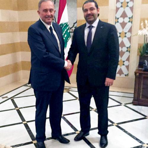 Brent Sadler with H.E. Saad Hariri, Prime Minister of Lebanon