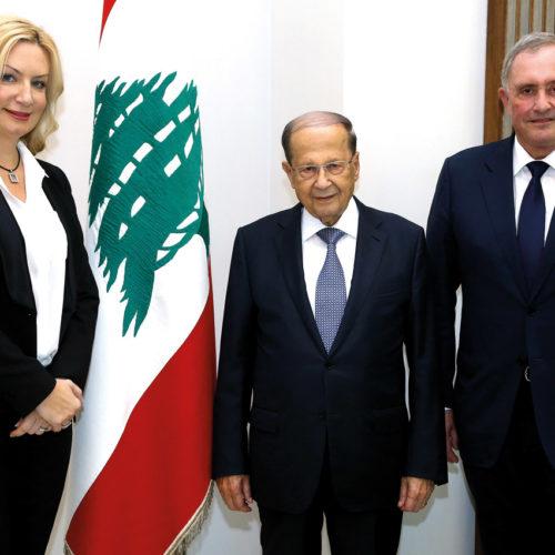 Jelena and Brent Sadler with H.E. Michel Aoun, the President of Lebanon