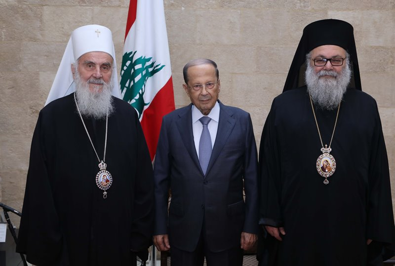 Aoun meets with Irinej: We are working to maintain balance, especially as war in the region aims to eliminate large groups, cause disruption
